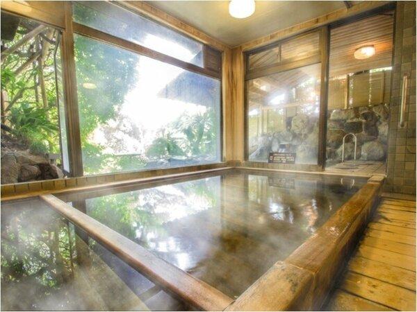 お風呂「ひのきの湯」(大浴場)大観荘の温泉は女性に優しい美肌の湯でございます。