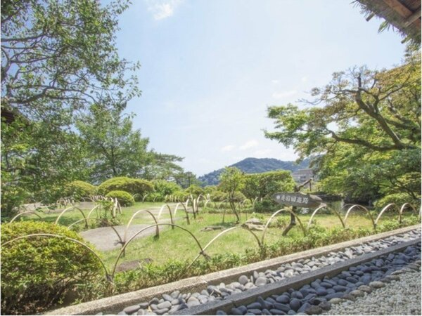 大観荘自慢の宏壮な日本庭園。散策なさるのも楽しみの1つ。