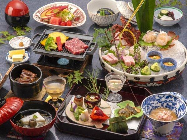 <夕食一例・悠味コース>量より質の上質なご夕食メニューです。美味少量派の方へおすすめ。