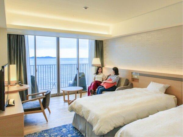 新館AQUA SQUARE オーシャンビュールーム。海一望の眺望が自慢です。