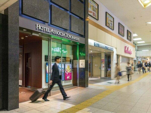 2階ホテル入口は在来線改札口から徒歩約30秒、新幹線改札口より徒歩約1分とアクセス抜群!