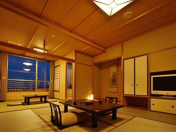 【扇栄】落ち着いた雰囲気、和の趣漂う露天風呂付の和室。ゆっくりとお寛ぎ下さい。※一例