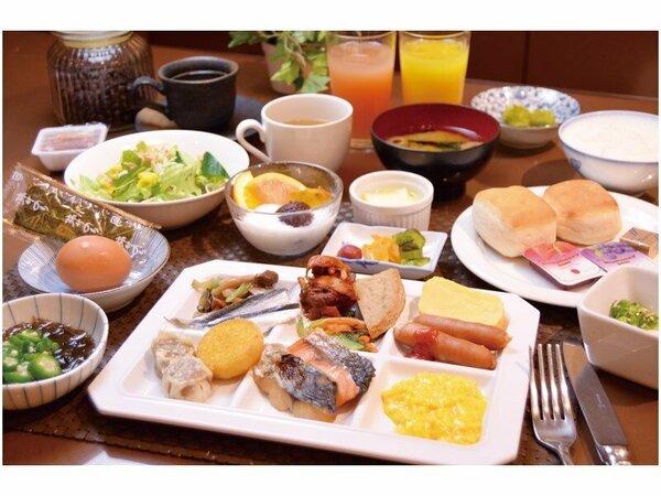 ホテル自慢の朝食ビュッフェ