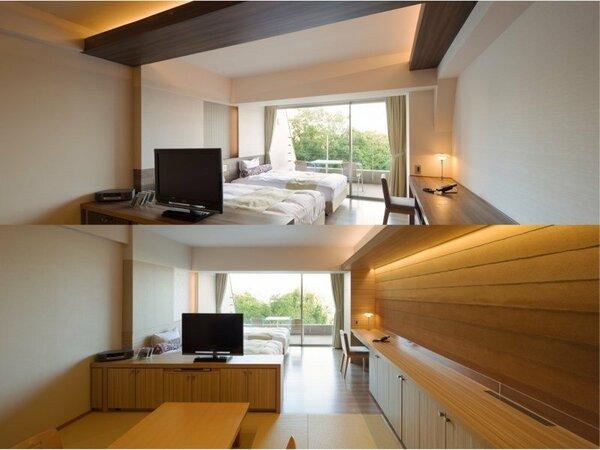 【With oak 3F】2名様入浴OK♪露天風呂付リピーターの多いモダンな明るい和洋室