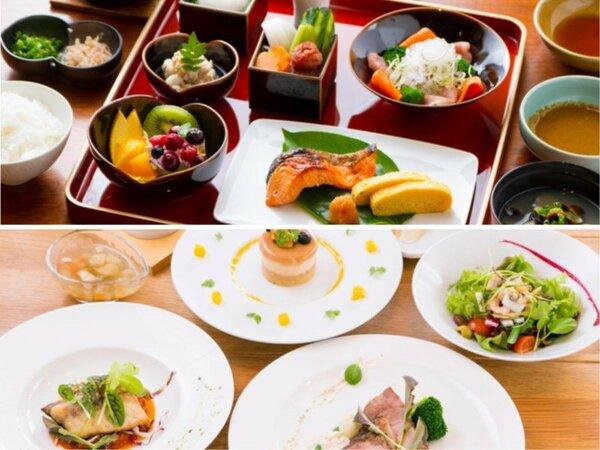 朝食は和食、ブランチはフレンチスタイルにてメインは肉料理か魚料理かお選び頂けます。