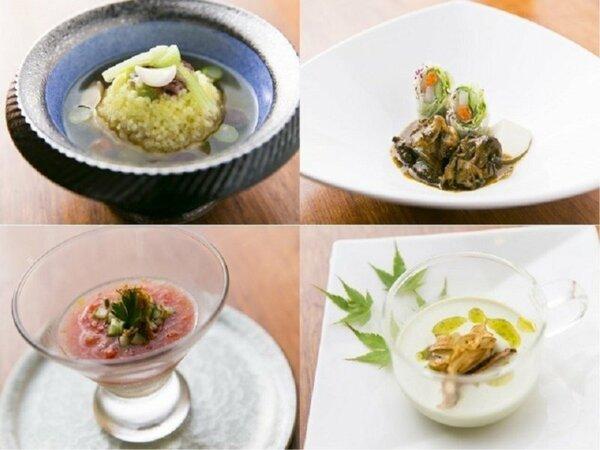時計回り/焼物:鮑の肝ソース添/嬉野産大豆を使用した豆乳スープ/お米を使った蒸物/トマトの冷製茶碗蒸