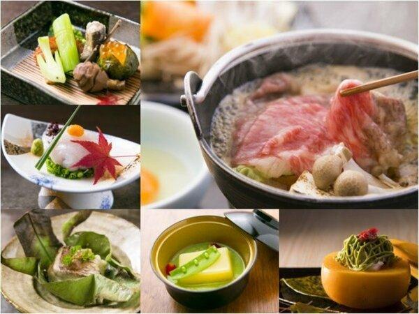 懐石料理フルコースの一例。