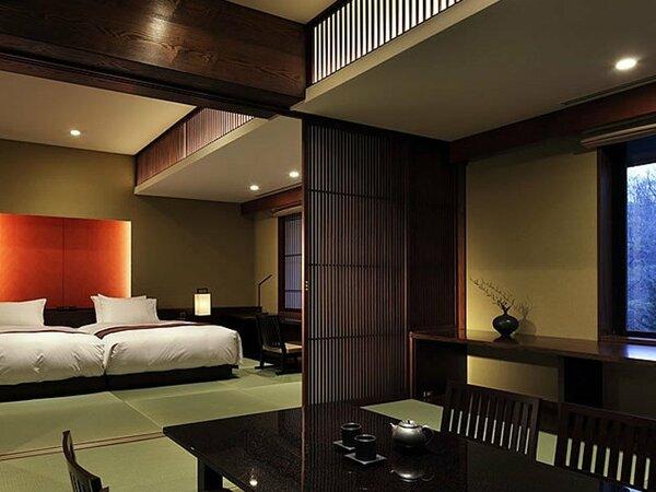 ジュニアプレミアスイート(61.6平米)・・・温泉ひのき風呂付(内風呂)+ベッドルーム+和室