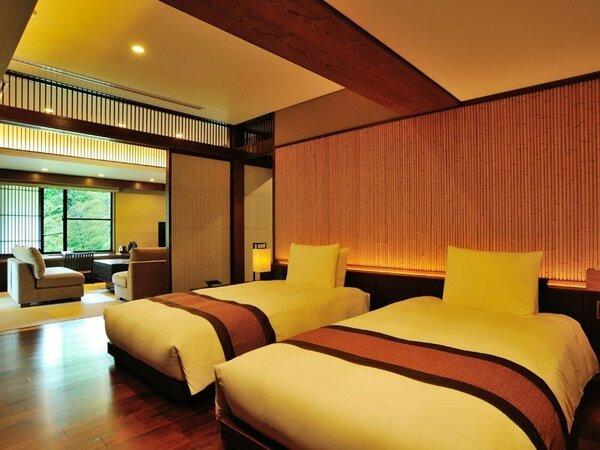 サイプレススイート(81.4平米/禁煙)・・・温泉ひのき風呂付(内風呂)+ベッドルーム+和室
