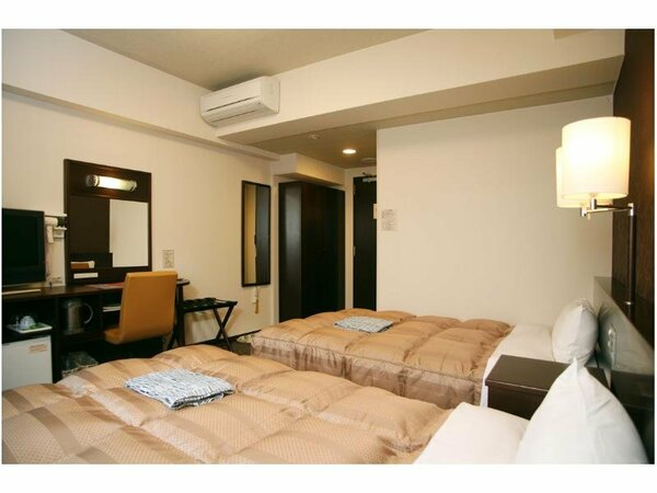 ツインルーム:液晶TV、無料Wi-Fi、加湿機能付空気清浄器完備!