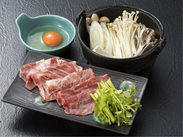 【一品料理】ブランド牛「秋田錦牛」100gすき焼き 比内地鶏の玉子との相性もバッチリ