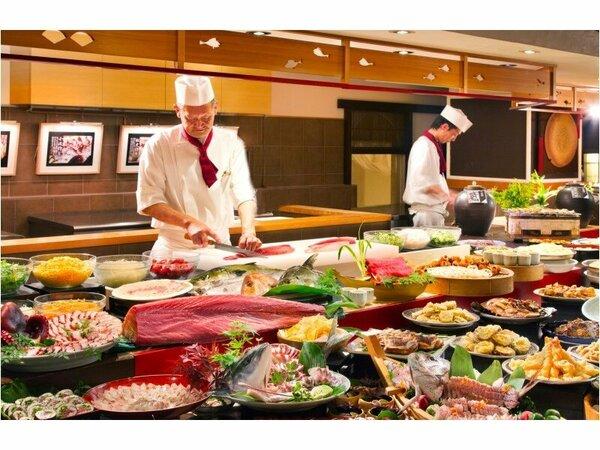 レストラン「彩」 オープンキッチンで作る割烹バイキング 阿波三昧をお楽しみ下さい