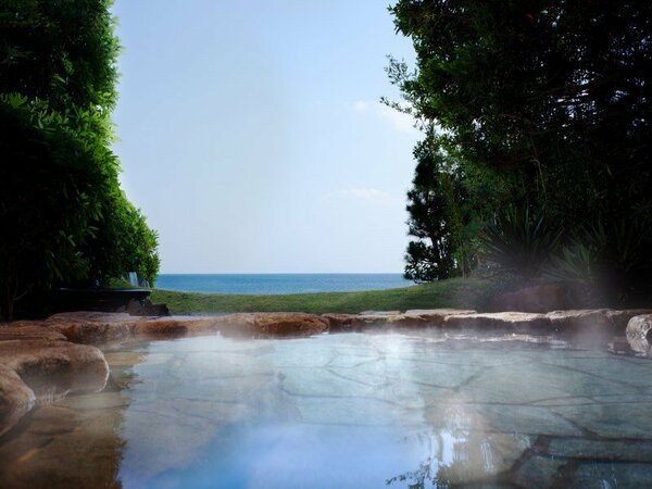 露天風呂からは鳴門の海を一望できる。泉質は塩化物ナトリウム炭酸水素塩泉の天然温泉