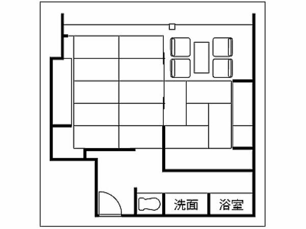 二間付き和室の間取り例。広さ・レイアウトは客室により異なります。