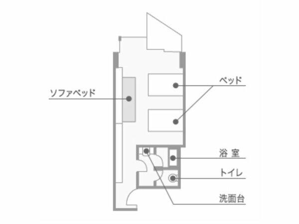 海側の洋室の間取り例。ツインベッドとソファベッドの3名様定員のお部屋です。