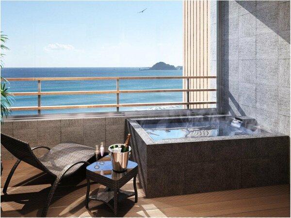 海一望の客室露天風呂(特別室の例)