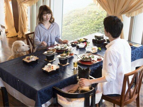 【レストラン】わんちゃんと一緒にお食事がお召し上がりいただけます。