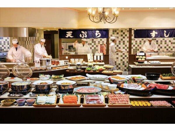 料理の一例(イメージ)焼きたてアツアツピッツァや握りたてお寿司等、ライブキッチンが楽しめます。