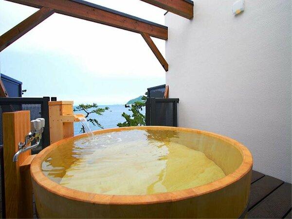 展望貸切露天風呂『天海空』 高野槙『海』150cm丸形・・・木曽檜の『空』150cm角形もあるよ
