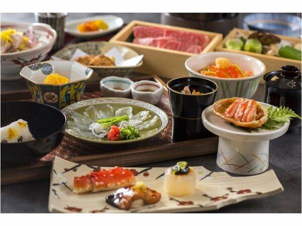 ご夕食は、四季の素材と料理人の心づくしが一汁三菜に彩りを加えた『茶懐石風料理』