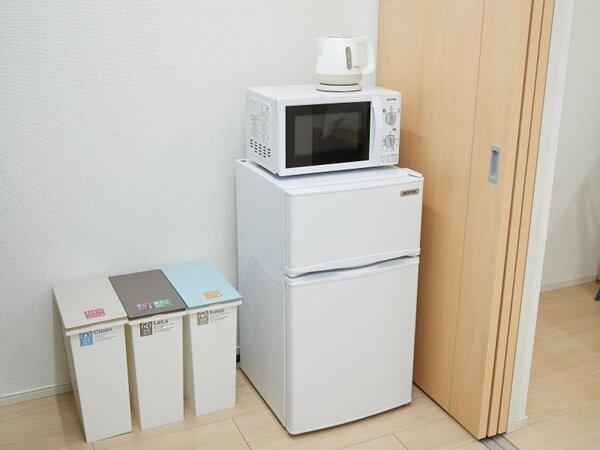 長期滞在にも安心の冷蔵庫も設置しております