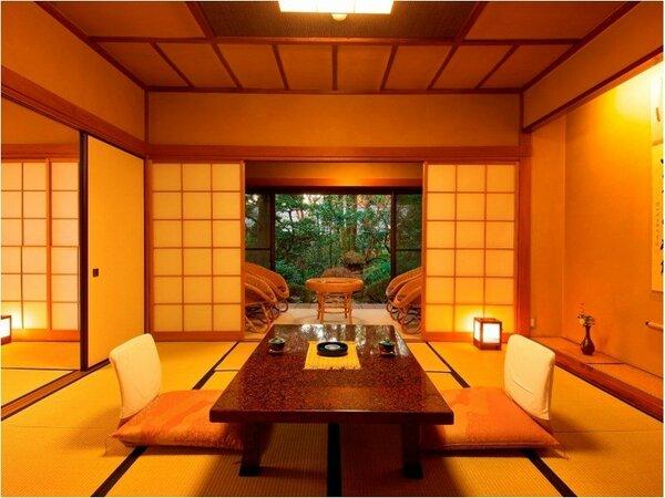 【客室の一例】本間+次の間+化粧間の、和室3間続き。ゆとりあふれる寛ぎ空間です。