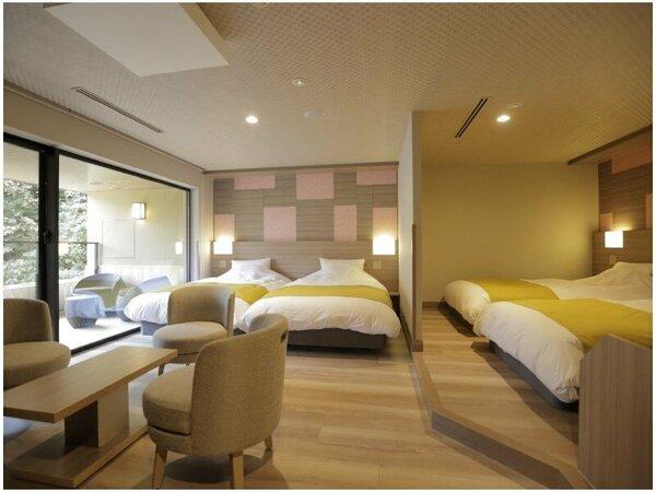 特別室(4ベッド)は58平米と一番広い上、露天風呂で温泉も愉しめる。