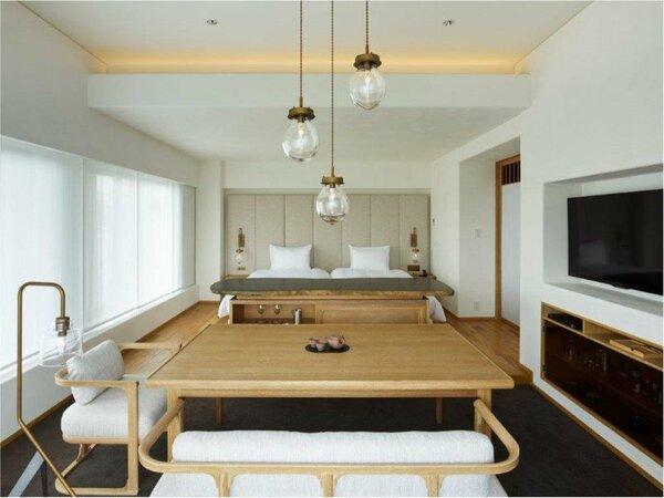 【セレスティンデラックス八坂(約61平米)】テーマは「TEA ROOM」。客室でお茶のおもてなしを体感