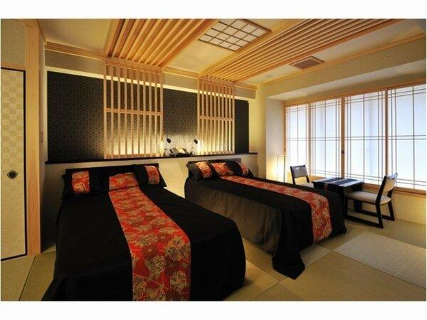 和洋室(特別室)は、和柄のデュベカバーでお洒落に