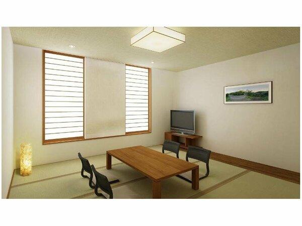 天然木の家具や羽毛布団など、快適さにこだわった和室です。