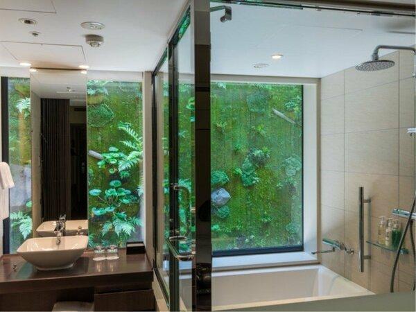 【ビューバスツイン浴槽】お部屋や浴室からモスウォールをご覧いただけます