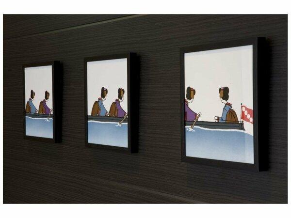 客室廊下の舞妓さんをイメージしたアート。 京都の雰囲気を演出致します。