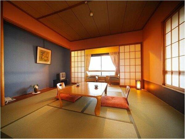 【お部屋】和室スタンダード(10畳)~高原の温泉宿ならでは蔵王エリアの山々が一望