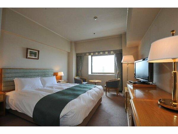 ダブルルーム23平米。160センチ×200センチのベッドでゆったり寝られます。
