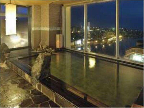 【大浴場】眺望満点の大浴場♪内湯、露天ともに15時から翌朝10時まで夜通しご利用いただけます。