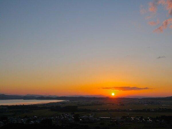 客室から見る夕日