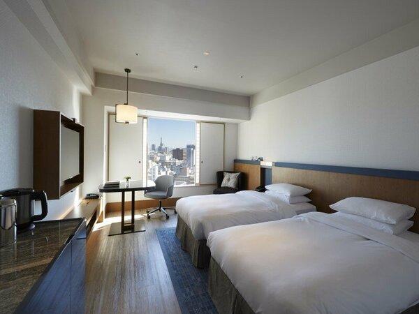 【ヒルトンルームツイン】ツインルームのスタンダードタイプ 112x205cm(2台)のベッドを完備