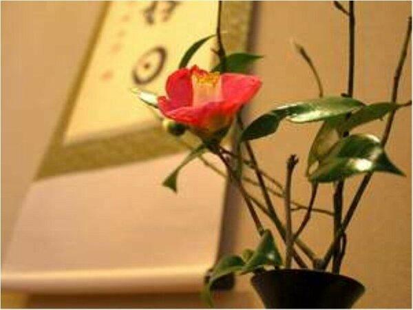 お部屋でお出迎えするのは女将こだわりの生け花。日ごとに変わるお花は女将が自ら採ってくる野生の花です。