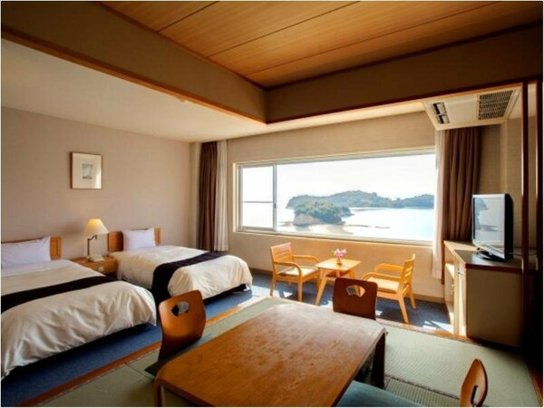 瀬戸内の美しい景色を一望できる、オーシャンビューの客室です。*無線LAN(Wi-Fi)接続可能