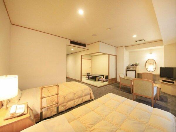 【湯美亭和洋室】洋間ベッド+和室6畳