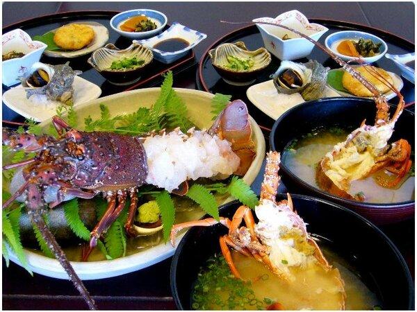 ■マル得伊勢海老定食(一例)■2人で大きな伊勢海老のお造りをシェア☆〆のお味噌汁も絶品です!