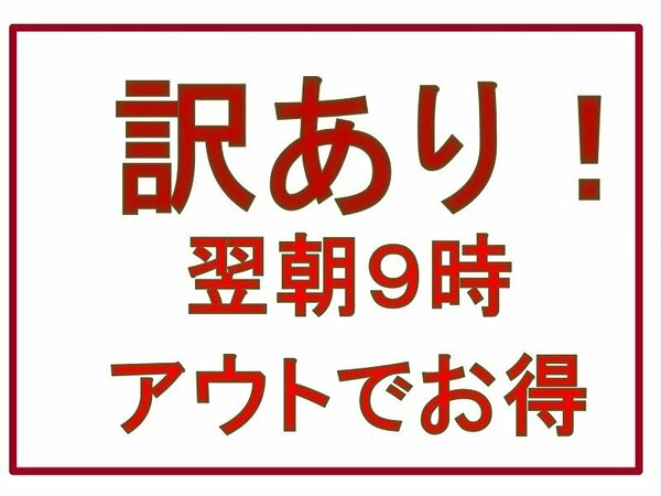 【訳ありプラン】通常、翌朝10時→9時OUTでお得に宿泊♪