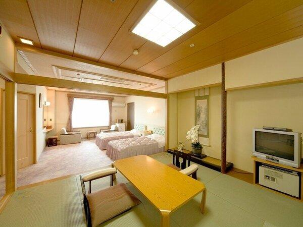【海側特別室例】和室8畳とツインの広々としたオーシャンビューのスイートルームです。