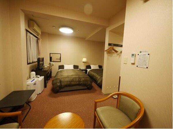 ツインルーム:全室無料Wi-Fi&加湿機能付空気清浄器完備!