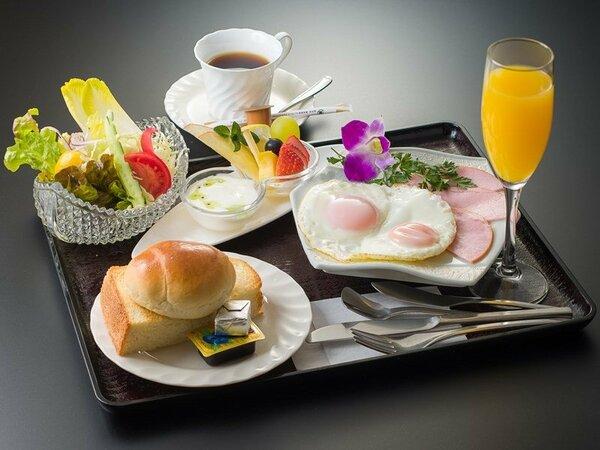 美味しい朝食!和食か洋食をお選び頂けます(写真は洋食イメージ)