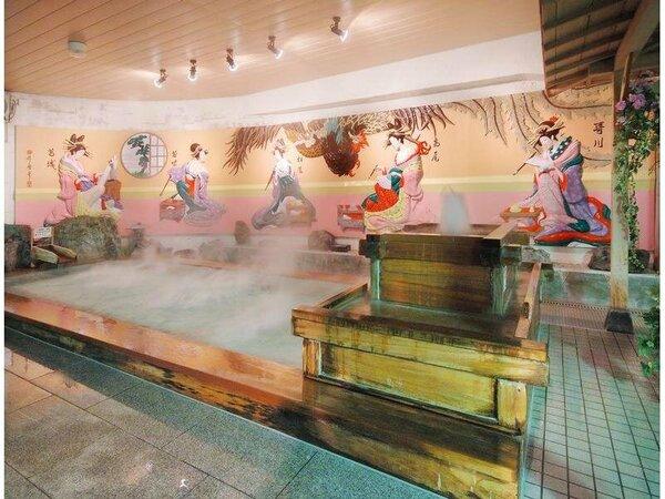 浮世絵が珍しい「白鷺の湯」