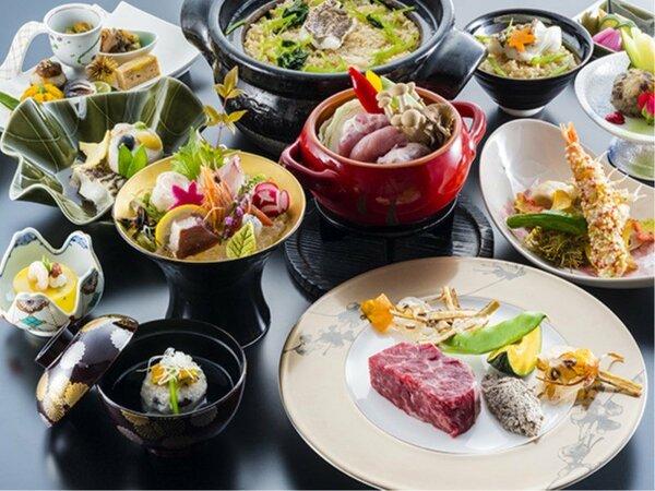 【9~11月愛媛会席イメージ】愛媛産の食材を多く使用した懐石料理をご堪能ください。