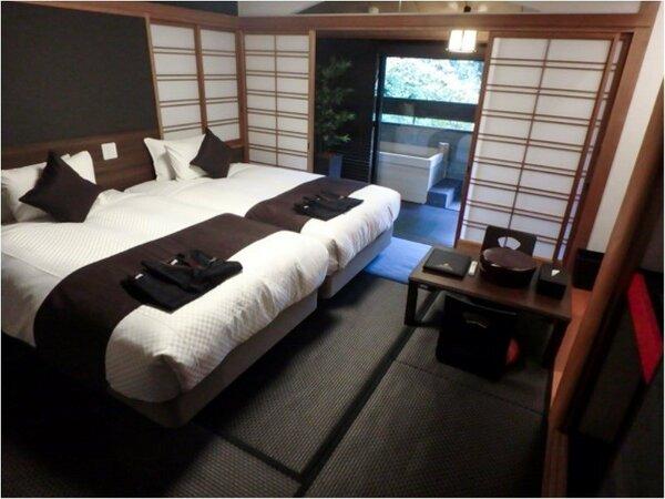 和室B【露天風呂付】 35平米 ベッドサイズ195×120 喫煙/禁煙