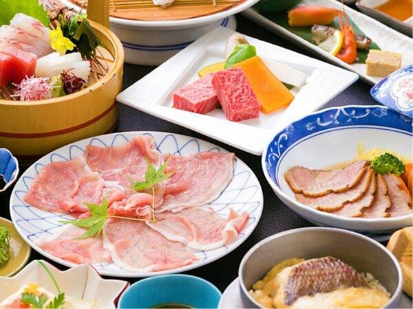 ◆肉三昧会席◆『黒毛和牛焼き・姫ポークしゃぶしゃぶ・合鴨ロース』お肉尽くしのプランをぜひご賞味下さい