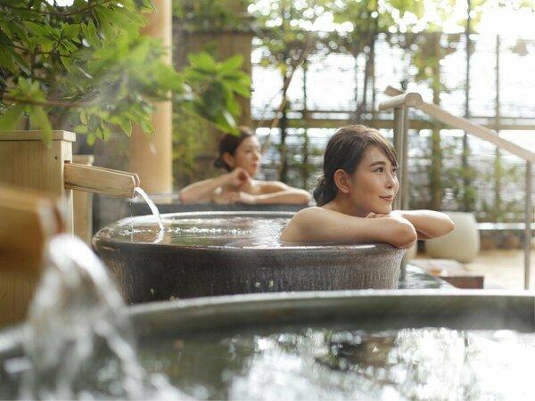 道後のお湯と緑豊かな露天風呂でリラックス♪日々のお疲れを癒して下さい。